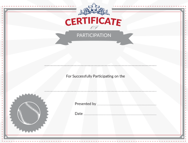 printable baseball certificate of participation award