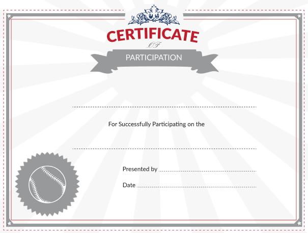 Printable baseball certificate of participation award for Printable baseball certificates