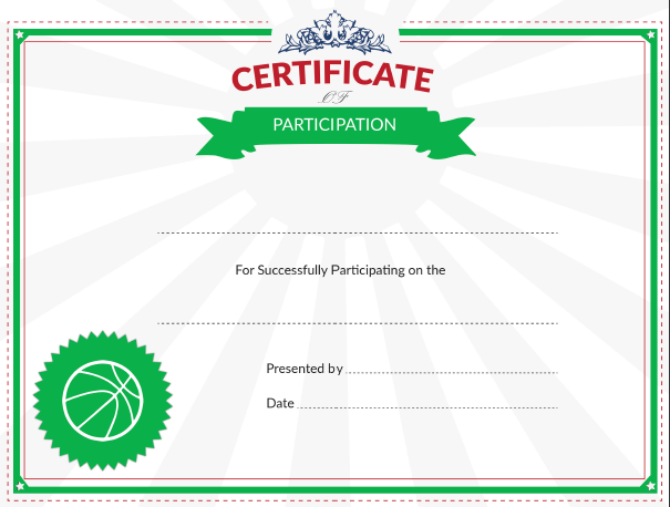 Certificate of Participation Award for Youth Basketball