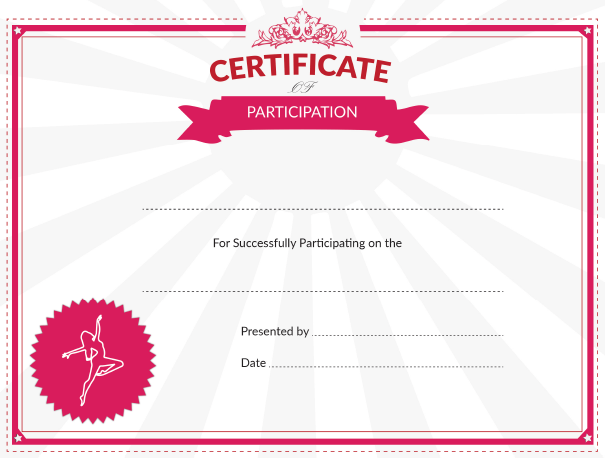 printable dance certificate of participation award