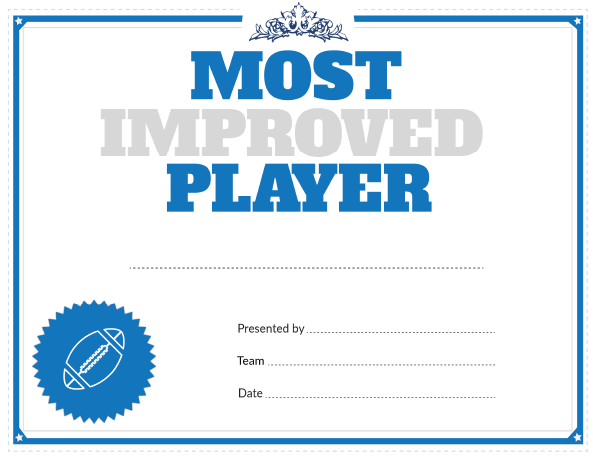 Printable Football Most Improved Player Award