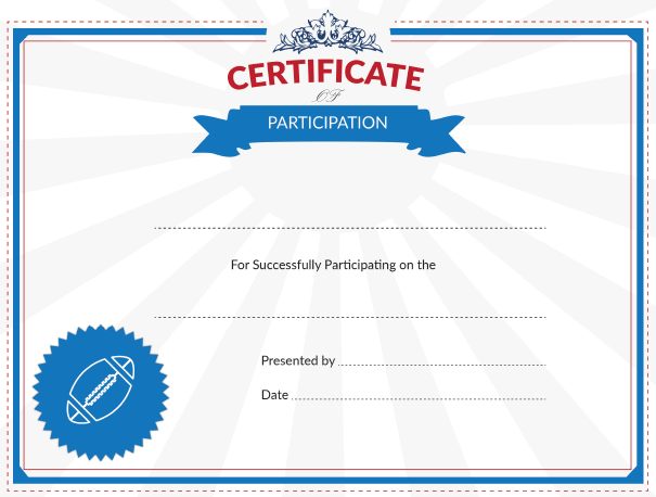 Printable football certificate of participation award football participation award yadclub Choice Image