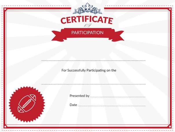 printable football certificate of participation award