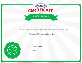 Certificate of Participation Award for Basketball