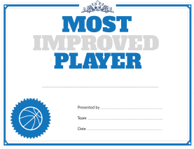 Basketball Most Improved Player Award