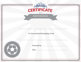 Soccer Certificate of Participation Award