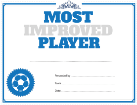 Soccer Most Improved Player Award