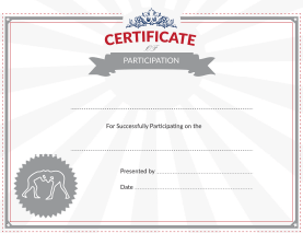 Wrestling Certificate of Participation Award