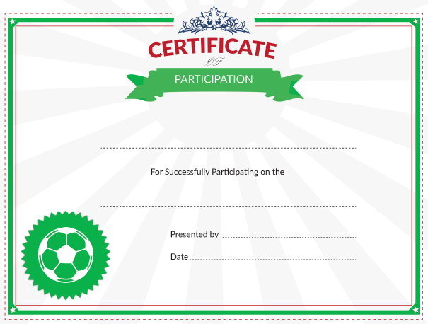 graphic about Printable Soccer Certificates named Printable Football Certification of Participation Award
