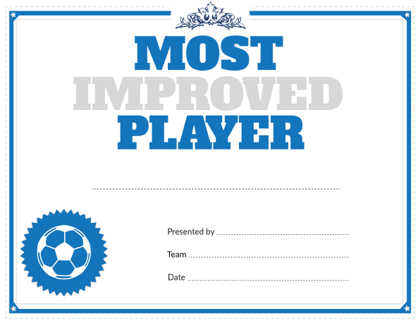 printable soccer most improved player award