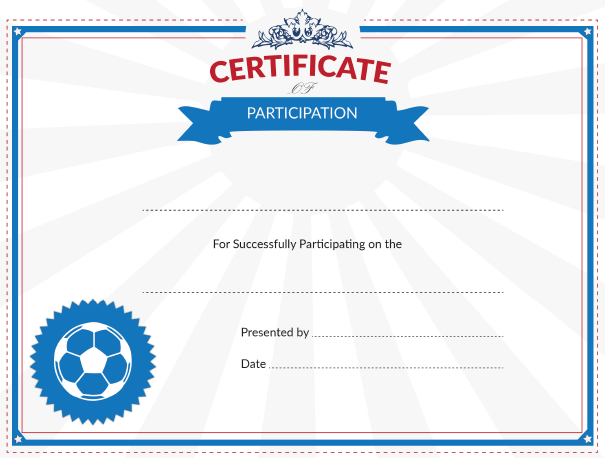 Certificate of Participation Award for Youth Soccer