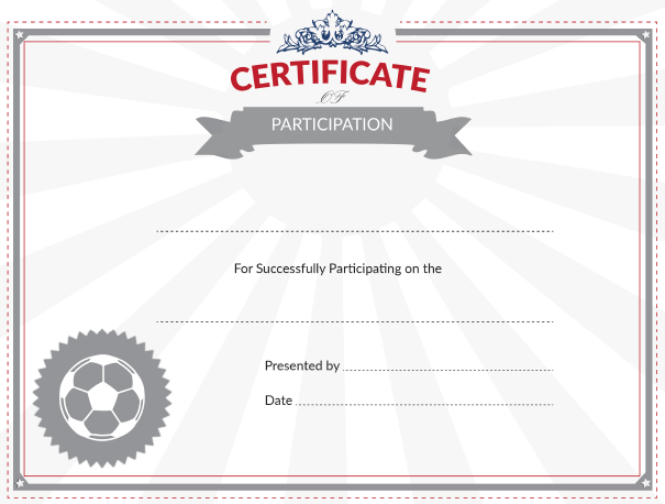 printable soccer certificate of participation award