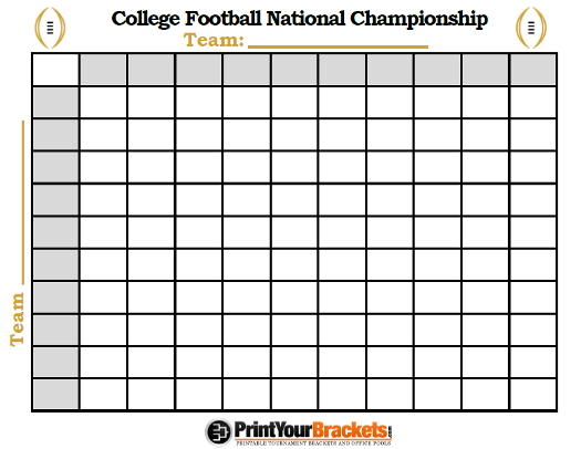 Printable Coolege Football National Championship Football Squares