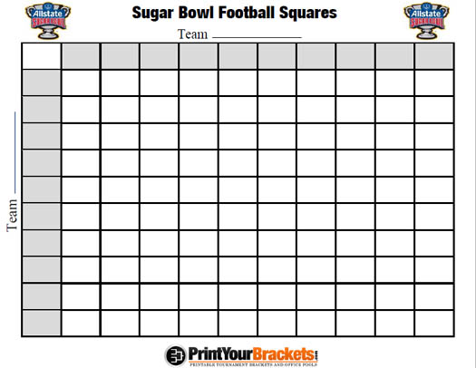 image about Printable 100 Square Football Pool referred to as Sugar Bowl Soccer Pool - Printable Variation