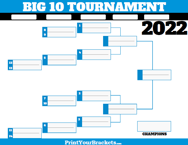 image relating to Printable Big Ten Tournament Bracket identified as Massive 10 Meeting Match Bracket 2020 - Printable