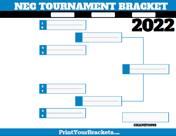 NEC Northeast Conference Tournament Bracket 2019 Printable