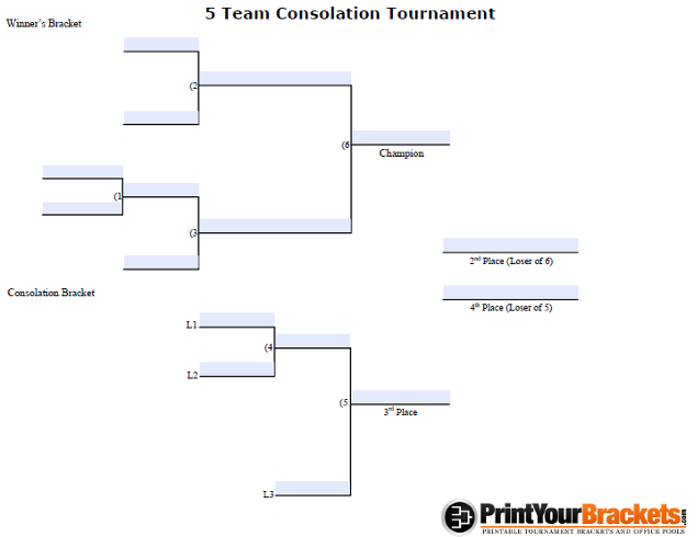 Fillable 5 Team Consolation Bracket