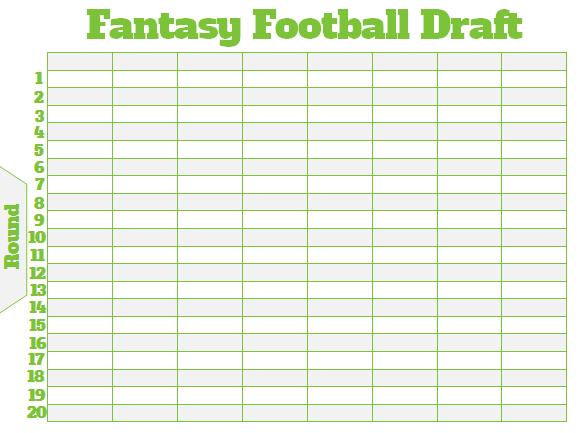 Printable 8 Team Fantasy Football Draft Board Customizable
