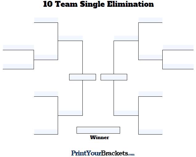 Fillable 10 team tourney bracket editable bracket for Game bracket template