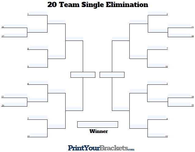 Fillable Seeded 20 Team Tournament Bracket