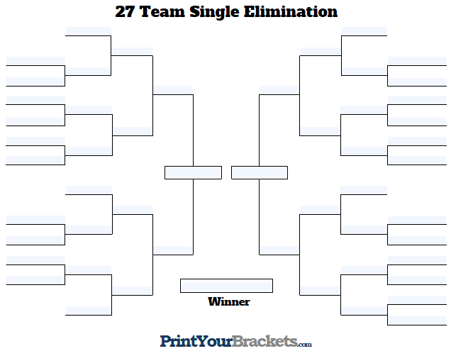 Fillable 27 Team Single Elimination Tournament Bracket