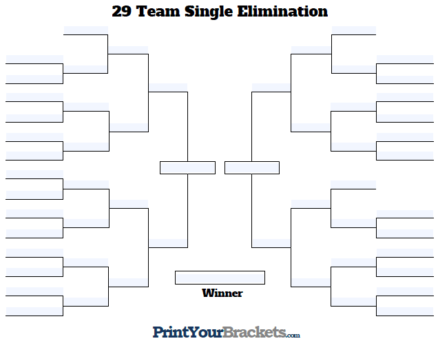 Fillable 29 Team Single Elimination Tournament Bracket