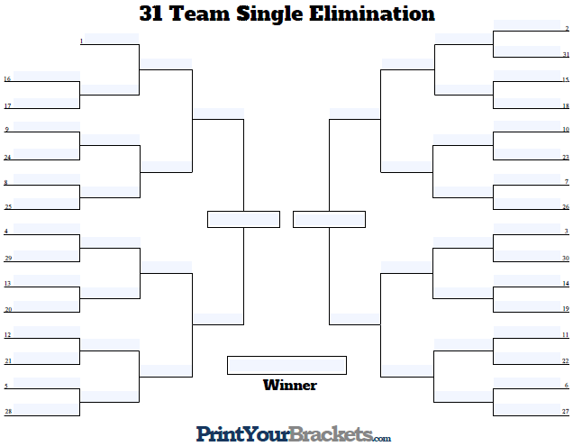 Fillable Seeded 31 Team Tournament Bracket