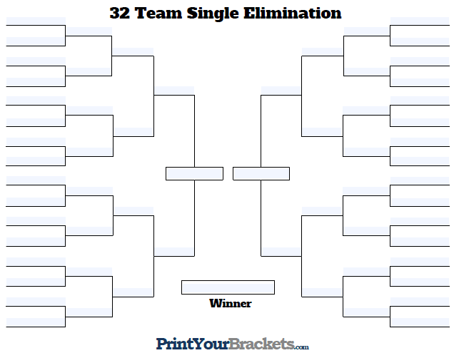 Fillable 32 Team Tourney Bracket Editable Bracket