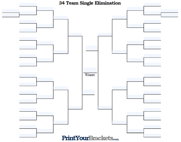 Fillable 34 Team Single Elimination Tournament Bracket