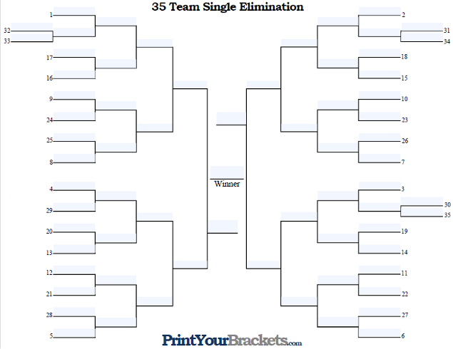 Fillable 35 Team Seeded Single Elimination Tournament Bracket