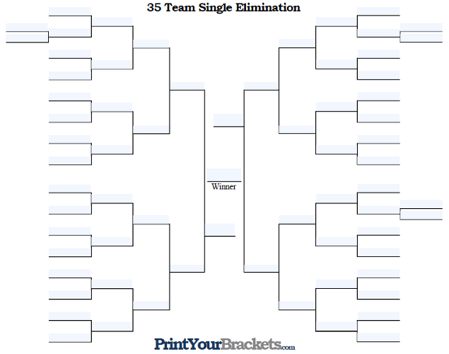 Fillable 35 Team Single Elimination Tournament Bracket