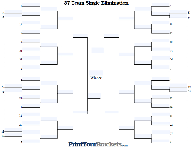 Fillable 37 Team Seeded Single Elimination Tournament Bracket