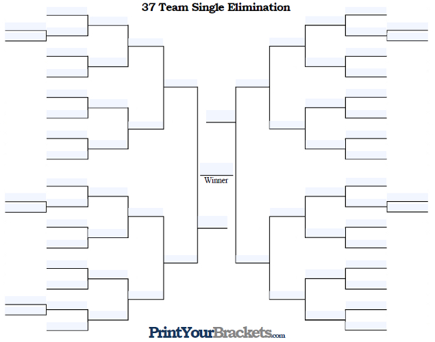 Fillable 37 Team Single Elimination Tournament Bracket