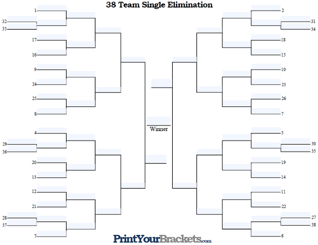 Fillable 38 Team Seeded Single Elimination Tournament Bracket