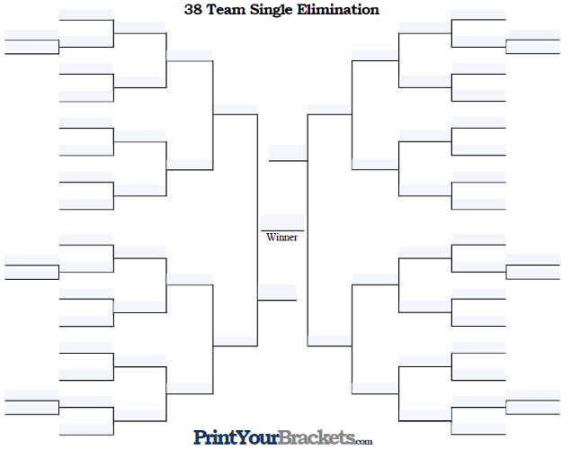 Fillable 38 Team Single Elimination Tournament Bracket
