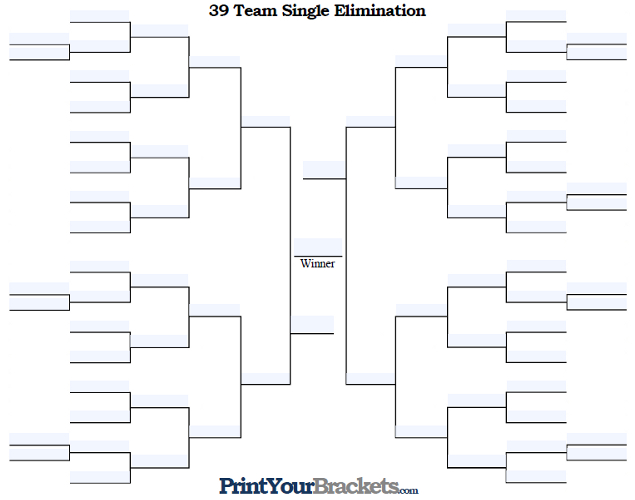 Fillable 39 Team Single Elimination Tournament Bracket