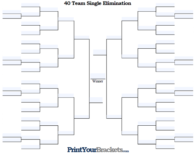 Fillable 40 Team Single Elimination Tournament Bracket