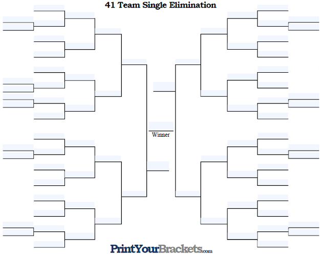 Fillable 41 Team Single Elimination Tournament Bracket