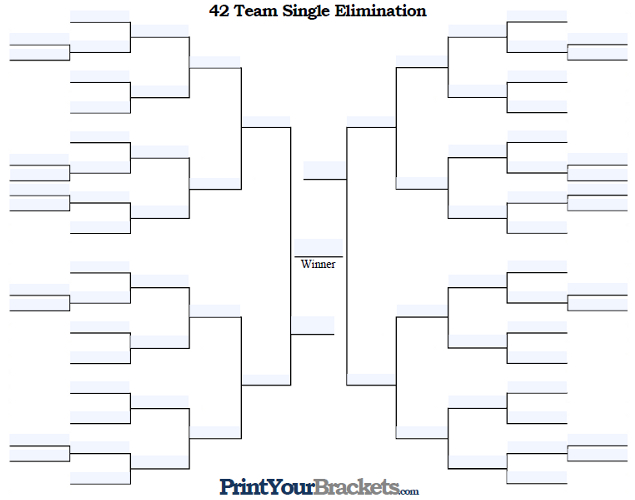 Fillable 42 Team Single Elimination Tournament Bracket