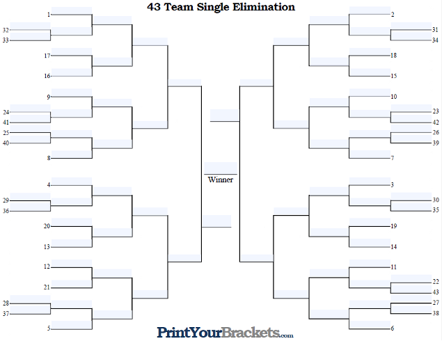Fillable 43 Team Seeded Single Elimination Tournament Bracket