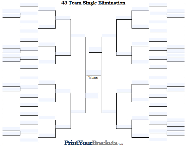 Fillable 43 Team Single Elimination Tournament Bracket