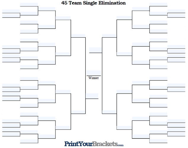 Fillable 45 Team Single Elimination Tournament Bracket