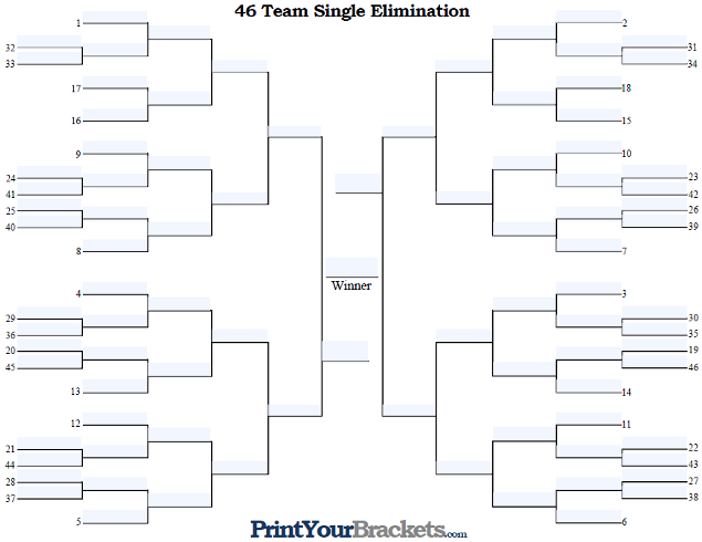 Fillable 46 Team Seeded Single Elimination Tournament Bracket