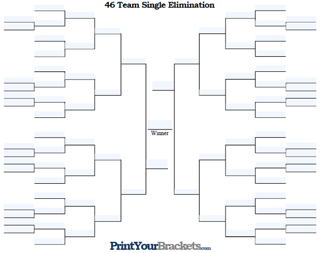 Fillable 46 Team Single Elimination Tournament Bracket