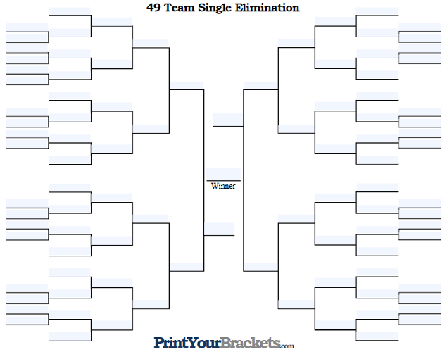 Fillable 49 Team Single Elimination Tournament Bracket