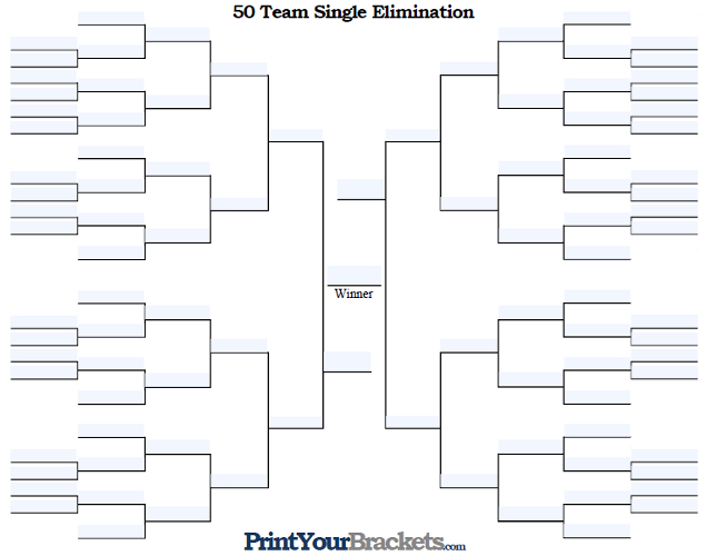 Fillable 50 Team Single Elimination Tournament Bracket