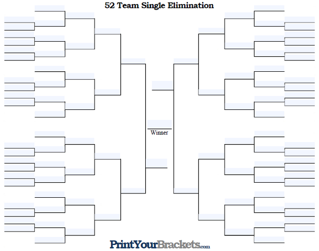 Fillable 52 Team Single Elimination Tournament Bracket