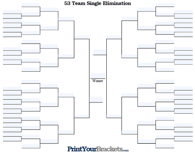 Fillable 53 Team Single Elimination Tournament Bracket