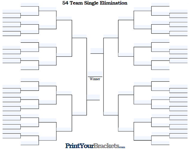 Fillable 54 Team Single Elimination Tournament Bracket