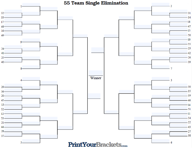 Fillable 55 Team Seeded Single Elimination Tournament Bracket